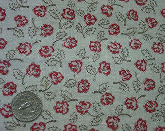 Vintage Full Feedsack Fabric Pretty Little Red Roses, Large 36 x 44""