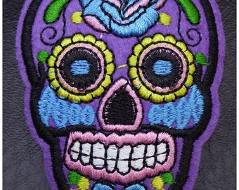 Embroidered patch fusible skull skull candy skull pinup 5.3 x 7.1 cm purple x 1
