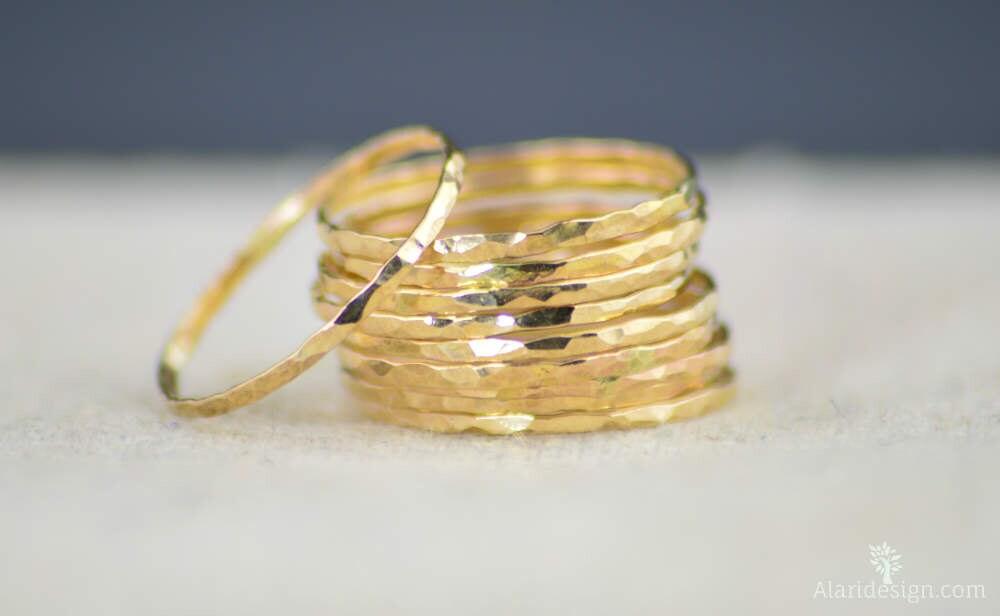 Gold Stack Ring Gold Ring Stack Ring Thin Gold Ring 14k