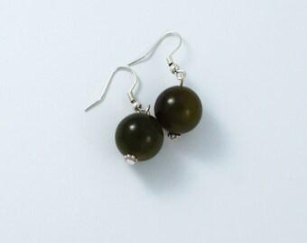 Green earrings in jade, jade earrings, green jade earrings, dangle earrings, bead earrings - sold in pair