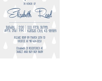 Navy Blue and Gray Baby Shower Invitation