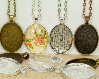 30 DIY Pendant Kits, 22 x 30 Oval Pendant Trays with Glass and Chain, Pick your choice of chain and colors