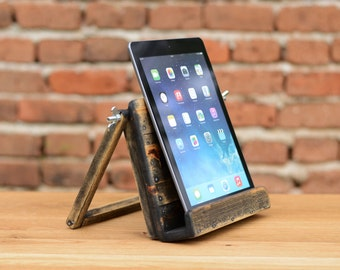 Wooden iPad stand, iPad Holder, Holz iPad Ständer, iPad Halter, Tablet stand, Made from Reclaimed Wood, Desk Organizer, Wood Tech Accessory