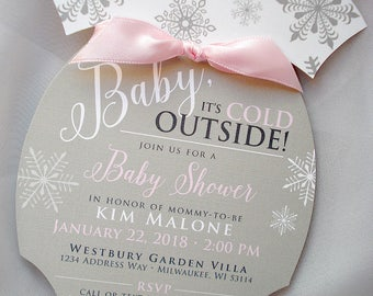 DIGITAL FILE, Baby Its Cold Outside Invitation, Onesie Invitation, Snowflake Baby Shower invitation, Winter Baby Shower Invitation, 2UP PDF