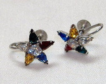 Vintage Star Earrings Kramer Screw Backs Australian Crystals Antique 50s Mothers Day Birthday Gift Teardrop Costume Jewelry Unique Rare