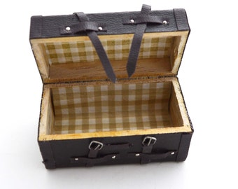 Chest Trunk Dollhouse Miniature Vintage Inspired Travel Suitcase Box Brown Realistic - 1PC