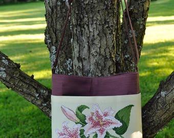 Star Gazer Lilies Cross-Stitch Shoulder Bag