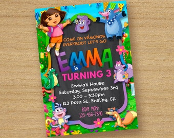 Dora The Explorer Invitation, Dora The Explorar Printable Invite, Dora Birthday Party Card, Dora The Explorer Chalkboard Custom Invitation