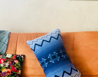 Native Inspired Design Pillowcase Throw Cushion Blue & White Fits Standard Bed Pillow