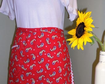 Half Apron - Red Paisley Floral Print