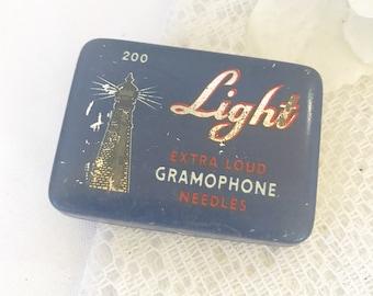 Antique Lighthouse Light Gramophone Needles Tin Litho Box, Vintage advertising record needles decorative case, victrola phonograph, Art Deco