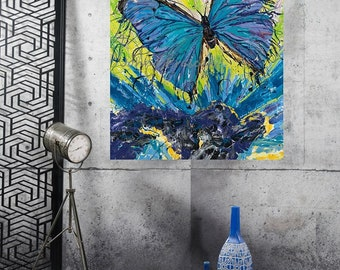 Butterfly totem, Blue Morpho art, Modern butterfly art, Garden wall art,  Pittsburgh Artist Johno