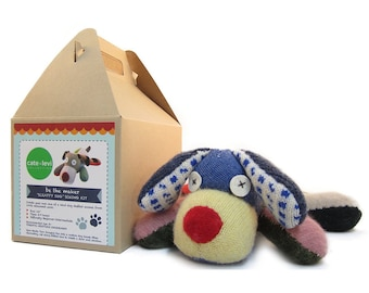 Dog Toy Kit, DIY Stuffed Animal, Soft Toy Kit, Handmade Dog Crafts, Eco-Friendly Plush Dog, Gift for Mom - Made in Canada