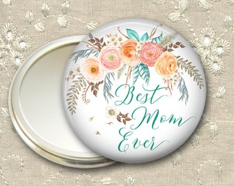 Mother's Day from daughter - ranunculus pocket mirror, flower hand mirror for purse, compact mirror, fashion accessory MIR-1406