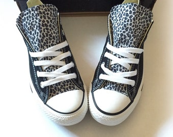 Leopard Converse Shoes, Black Gray Snow Leopard Converse, Cheetah Converse, Womens Custom Converse