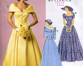 Free Us Ship Butterick 6022 Sewing Pattern Retro 1950's 1952 Evening Bridal Wedding Gown Dress Size 6/14  6 8 10 12 Bust 30 32 34 36
