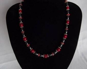 Dark red/hematite necklace & matching bracelet (optional), magnetic clasp on necklace, UK shop