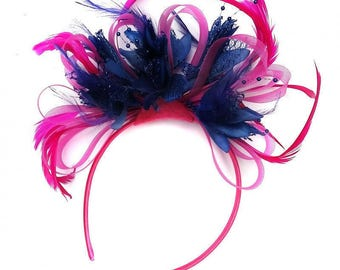 Fuchsia Hot Pink Hoop & Navy Blue Fascinator On Headband