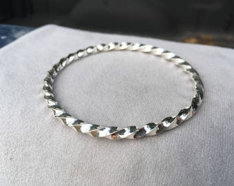 Heavy Sterling Silver Twisted Bangle Bracelet