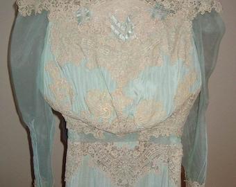 Original Victorian Aqua Silk Heavy Beige Lace Trim Wedding/ Ball Gown Size 6  Item: 154  Wedding Apparel