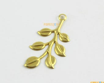 20Pcs Brass Tree Leaf Charm Tree Leaf Pendant Leaf Charm 38x20mm (PND1591)