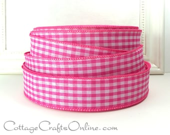 """Wired Ribbon, 1 1/2"""", Pink White Gingham Check Plaid - THREE YARDS - Offray, Summer, Spring, Easter, Bright Pink Wire Edged Ribbon"""