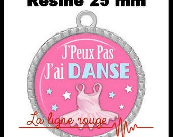 Round Cabochon pendant 25 mm epoxy resin - I can not I have dance! (2094) - text, fun, sorry, humor