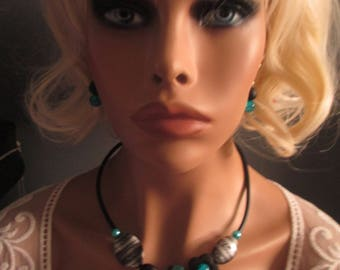 "Necklace + earrings ""Marylou"" Turquoise grey and black"