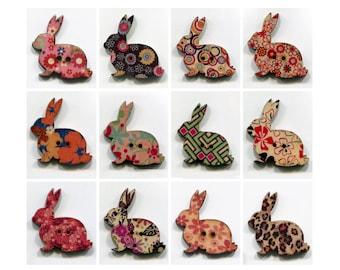 set Bunny buttons * 3cm * pattern * wood