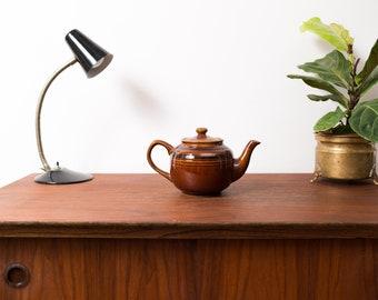Vintage Ceramic Coffee Pot - 1960's Brown Earth Tone Striped Coffee Tea Pot