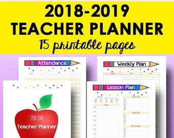 Teacher Planner 2018-2019, Teacher Lesson Planner, Homeschool Lesson Plan Book, 2019 Printable Homeschool Plan, Letter Size Instant Download