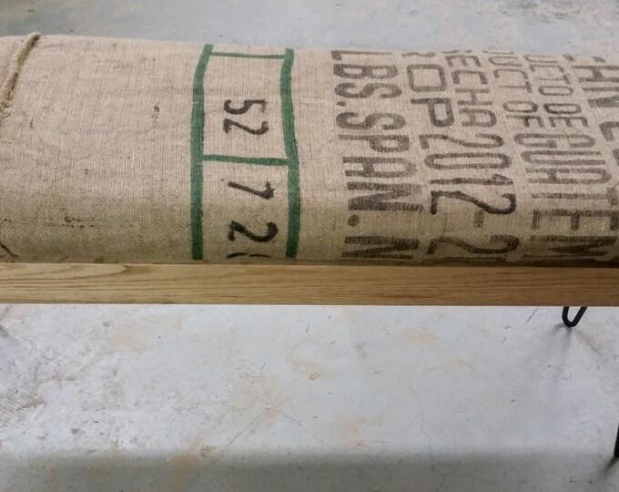 Reclaimed Wood Bench Coffee Sack Bench Coffee Bean Bag Bench Burlap
