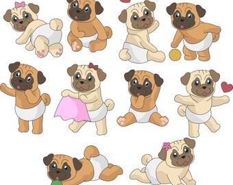 Pug clipart,pug clip art,Dog clipart,Dog clip art,Cute pugs clipart,commercial use,vector graphics,digital clip art,Instant download