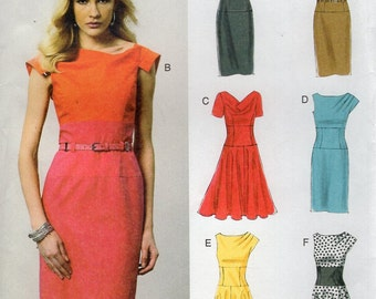 Vogue 8872 Free Us Ship Sewing Pattern Easy Option Dress Midriff Flared Cap Sleeve New Size 6/14 14/22 Bust 30 31 32 34 36 38 40 42 44 2014