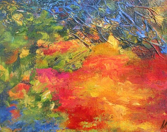Twilight - point of view #5, original art, landscape, acrylic, semi-abstrait, 6 3/8 x 11 1/8 in. (16 x 28.5 cm), landscape, acrylic.