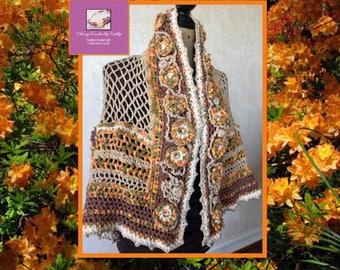 Festival Shawl, Bohemian Shawl, Lace Wrap, Crochet Shawl, Knit Shawl, Boho Shawl, Freeform Crochet, Festival Wrap, Wearable Art