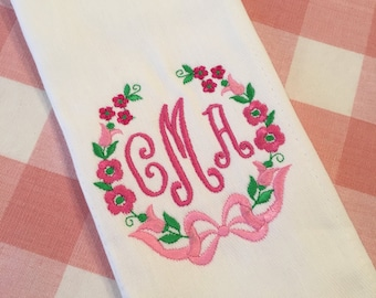 Monogrammed Floral Burp Cloth Embroidered Custom Baby