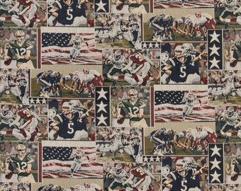 Pro Football American Flags Football Players Themed Tapestry Upholstery Fabric By The Yard | Pattern # A013