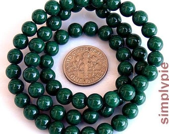 6mm Round Green MOUNTAIN JADE Gemstone Beads 16-inch Strand