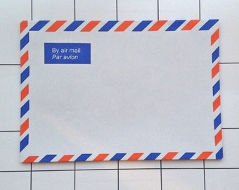 5 Airmail Red & Blue Envelopes - Stationery