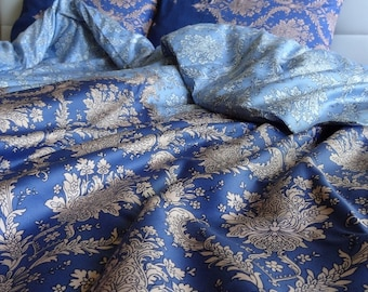 Twin / Twin XL Duvet Cover Full Set Blue Damask Pattern Cotton Satin Quilt Cover with pillowcase, Dorm Bedding Express Shipping