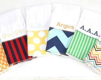 Six Personalized preppy burp cloths for babies