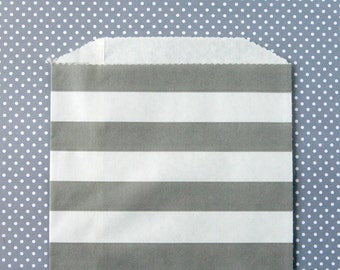 Gray Horizontal Stripe Goody Bags / Favor Bags / Treat Bags (20) - 5 x 7.5 inches