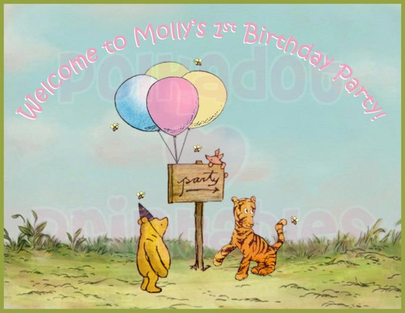 Classic winnie the pooh party door sign digital printable file m4hsunfo