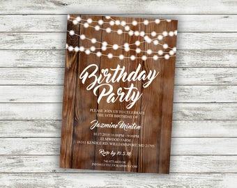 Rustic Birthday Party Invitation, Party Invite Card, Counrty Birthday Invite, Birthday Party, Adult Birthday Invitations,  50th Party