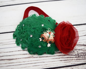 Carol of the Bells - Christmas Feather Headband - Jingle Bells - Vintage Style Baby - Emerald Headband - Flapper Girl Headband - Holiday Bow
