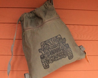 JEEP Tribal Tattoo Pigment Dyed Cinch Bag Backpack -  Screen Printed Original Design