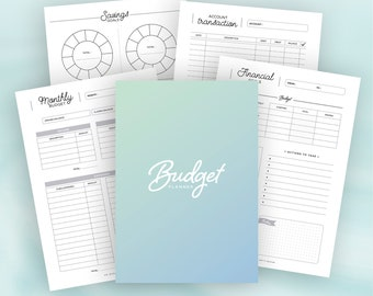 BUDGET PLANNER / Printable / Finance planner, account transaction, saving, debt, expenses & bill tracker, monthly budget, yearly budget