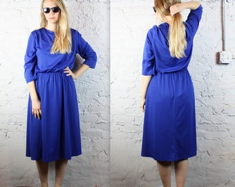 Royal Blue Plus Size Vintage Gown from 1970s 1980s with Long Sleeves and Draped Layers Women's Large XL Vintage . True Blue Winter Dress