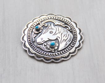 ON HOLD Vintage Sterling Silver Horse Brooch - big round scalloped concho pin pendant with turquoise - by Lee Charley Navajo Native American